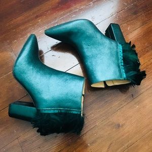 NWOT Katy perry emerald green feather booties